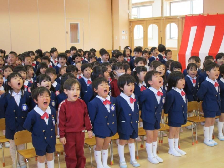 平成27年度終業式 皆で春よ来いを元気に合唱いたしました。