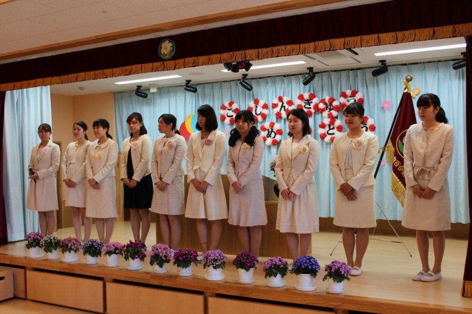 平成30年度 始業式 幼稚園部の先生方です。笑顔で頑張ります!