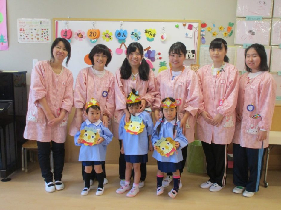4月 お誕生会 年少さんは すみれ組の3人です☆