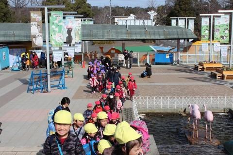 2015.2.28 おわかれ遠足(年長) 「こども動物自然公園」に到着!!往きのバスの中でもこどもたちは大はしゃぎ!!とっても楽しみにしているようでした!!