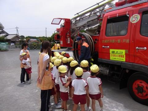 防火講習会(2) はしご車をじっくり見学・・・