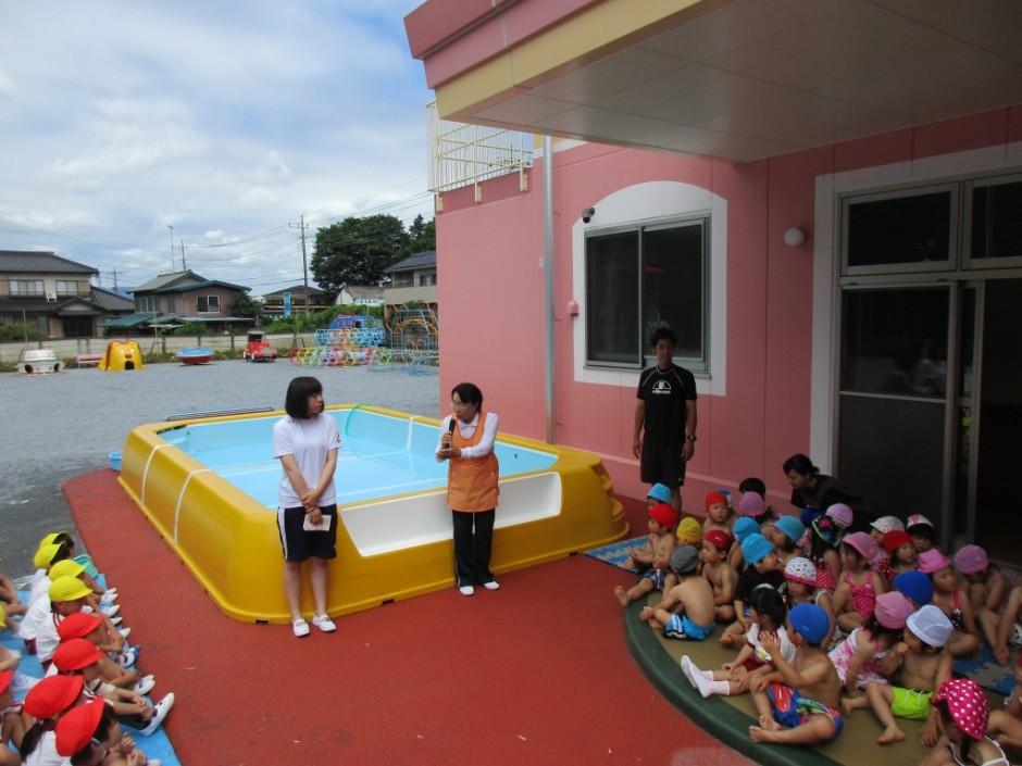 プール開き6月14日 今年もプール開きの日が来ました。梅雨空の中少しの晴れ間に行いました。
