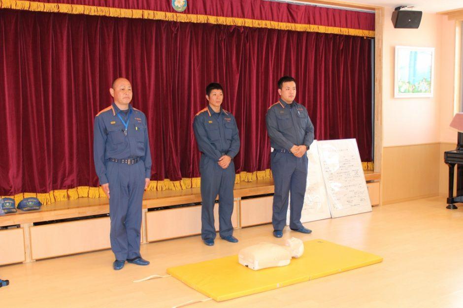 救急救命講習会 救急講習をしてくださった坂戸鶴ヶ島消防組合の皆さんです。