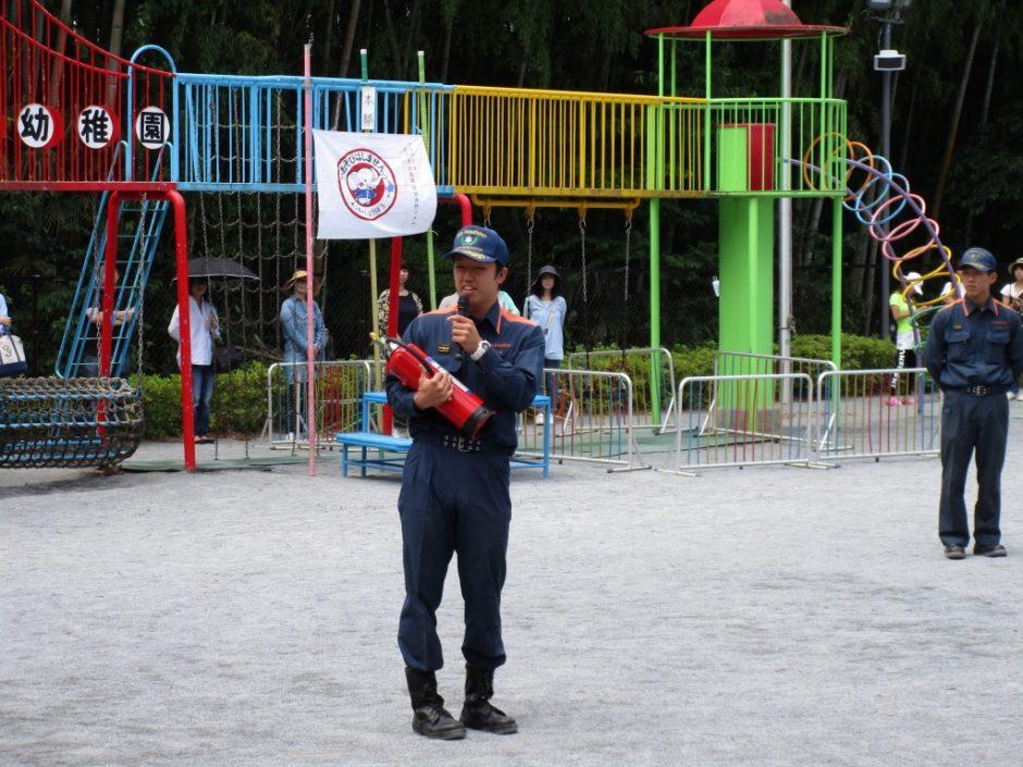 防火講習6月19日 坂鶴消防署のお兄さんに消火器の使い方の説明を聞きました。
