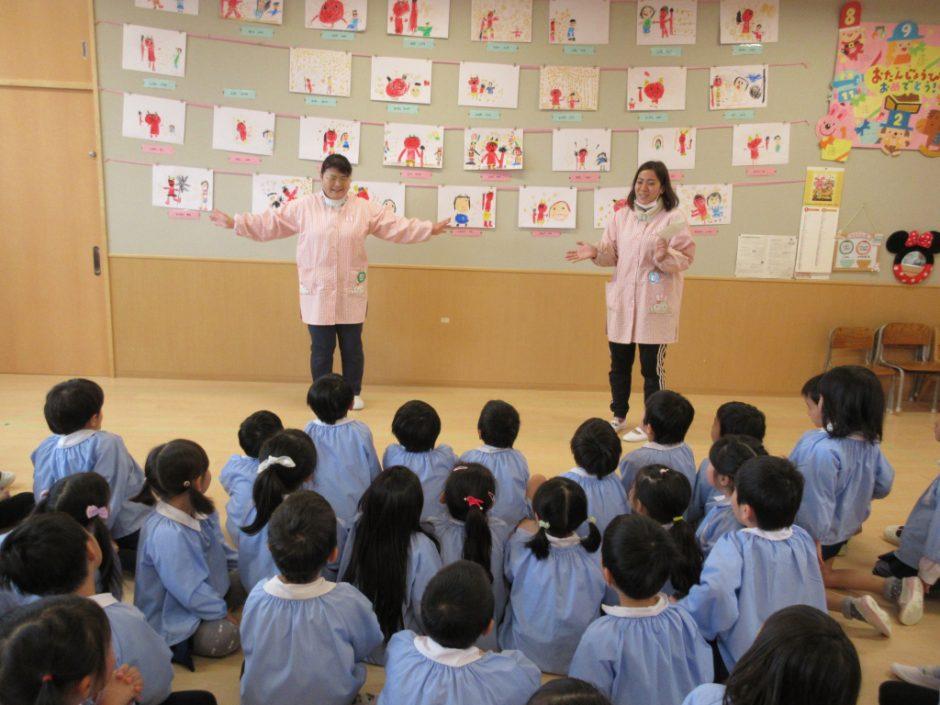 2月 お誕生会 まちがいさがしクイズ☆みゆき先生がクルっと回るとどこか変わっています!みんなわかったかな?