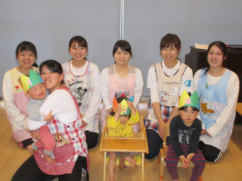 4月 お誕生会 保育園部は3人のお友達がお誕生日でした(^^)
