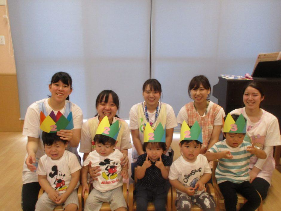 6月 お誕生会 保育園部さんは5人のお友達です。