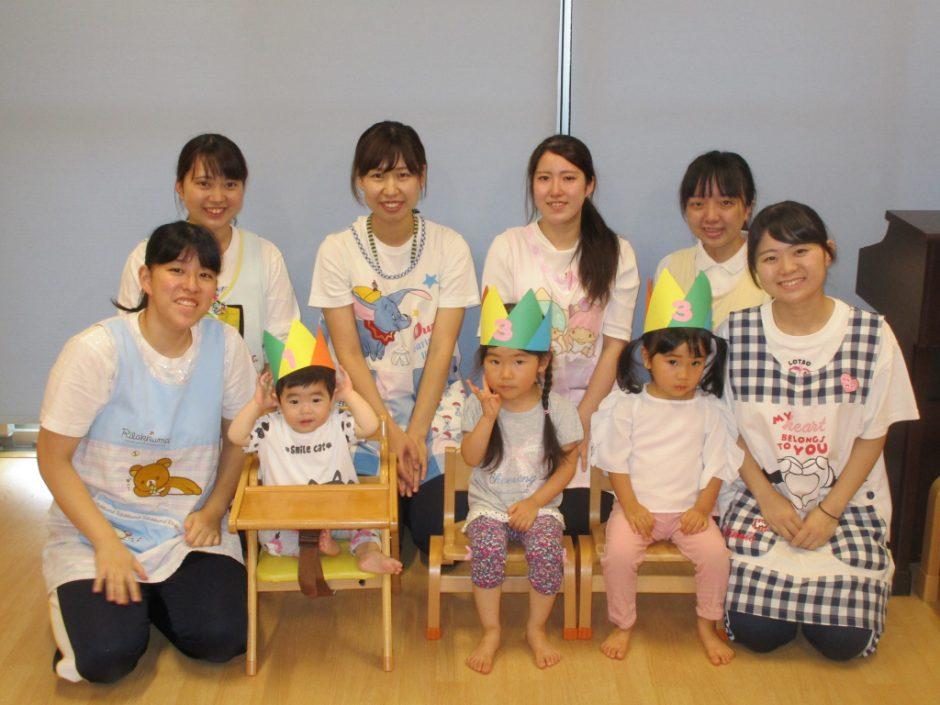 7、8月 お誕生会 保育園部さんの7月生まれのお友達は3人です✨