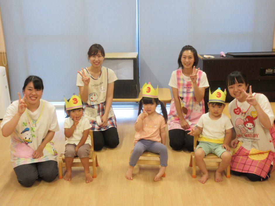 4月・5月・6月 お誕生会 ひばり組さんの3歳になったお友達です(/・ω・)/
