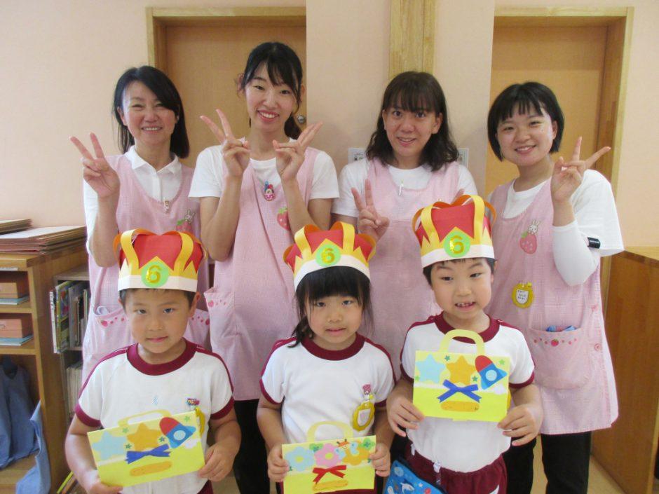 4月・5月・6月 お誕生会 休園中にお誕生日を迎えたお友達も一緒に、にぎやかなお誕生日会♪まずはきく組さん!