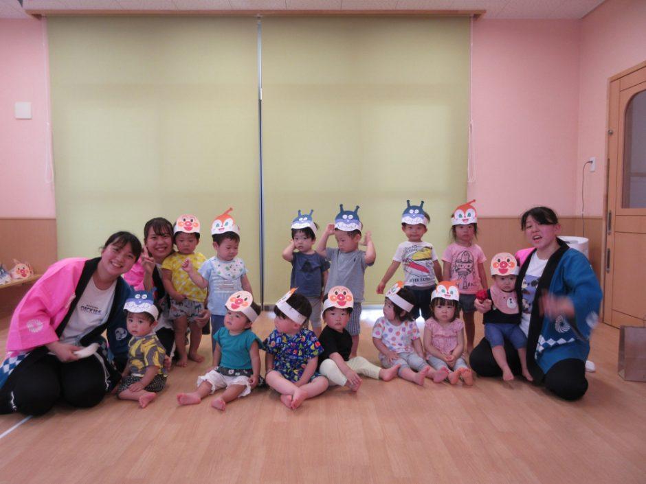 【保育園部】夏祭りを行いました☆彡 あひる・ひよこ組さん(^O^)いつもと違う夏祭りに、みんなたくさんの笑顔をみせてくれました♪