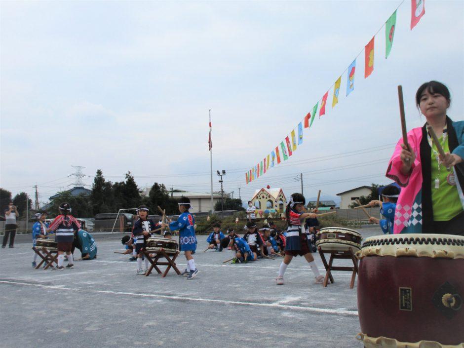 幼稚園部 運動会 年中さんの太鼓です☆彡 力強くかっこよいですね!