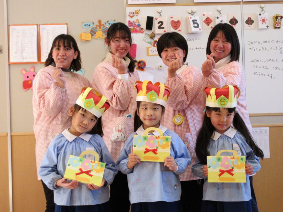 2月 お誕生日会 年長さんは3名のお友達です♪キュンです☆彡