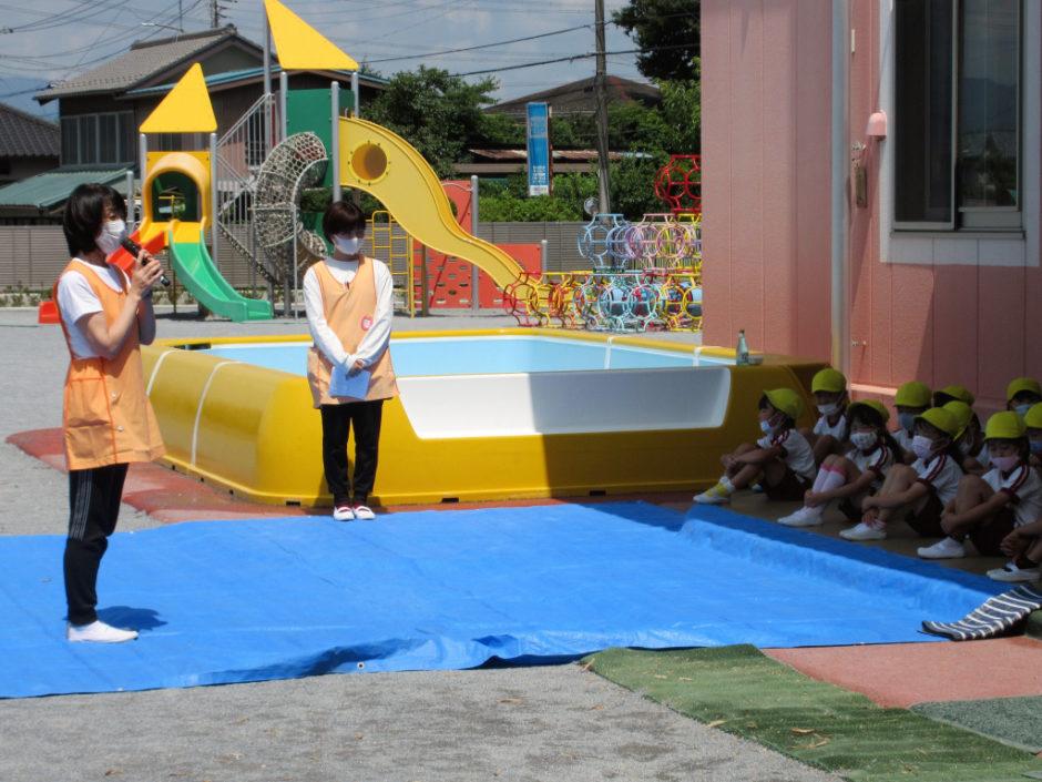 6月15日 プール開き 梅雨入り発表の翌日、快晴でとても暑い中プール開きが行われました(*^▽^*)