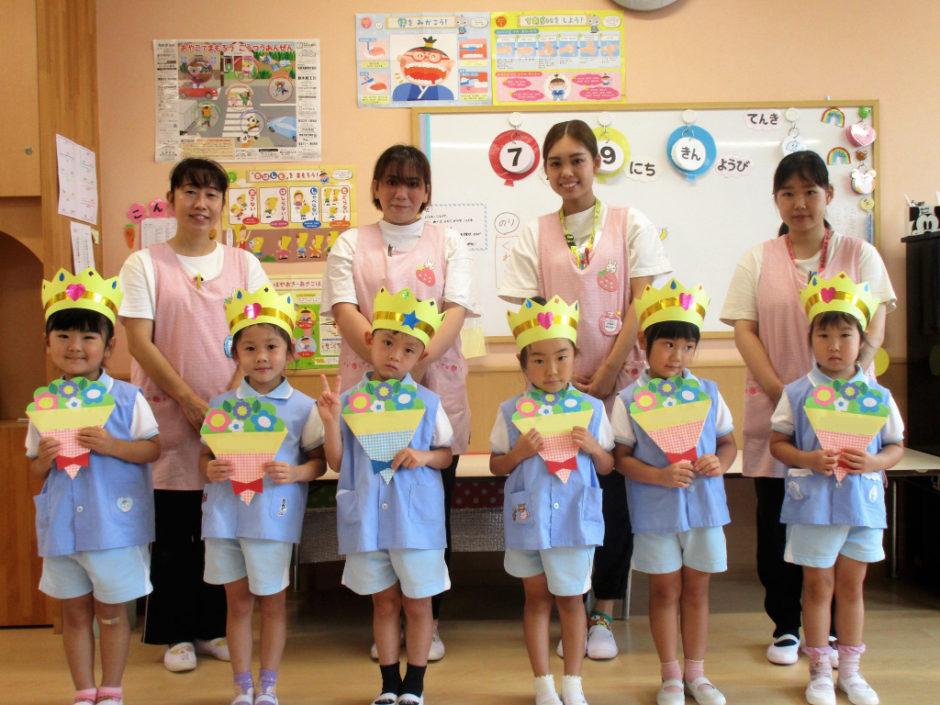 7.8月お誕生会 年中さんは7月生まれ6名のお友達です(≧▽≦)