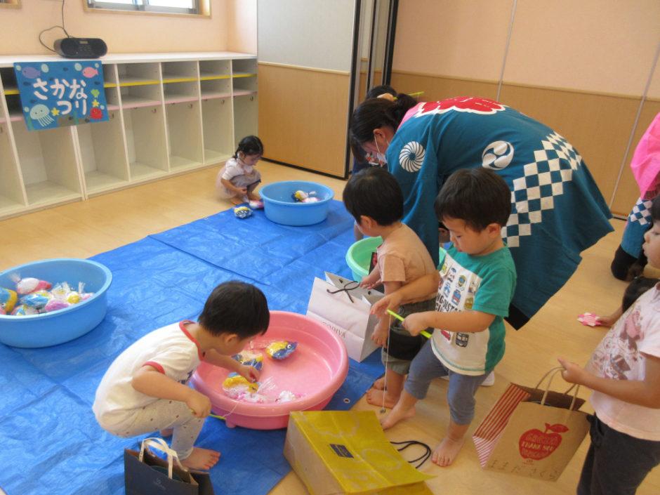 保育園部 夏祭り こちらは魚釣り☆慎重に慎重に(*^-^*)