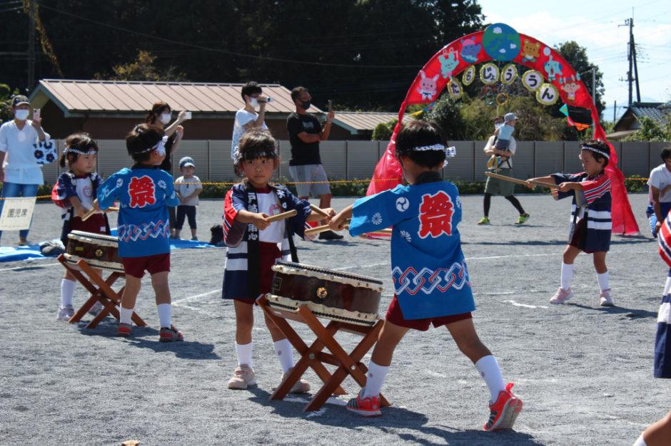 10月2日 運動会 年中ぐみ しらゆりわんぱく太鼓 踊りも姿勢もとても素晴らしいです☆