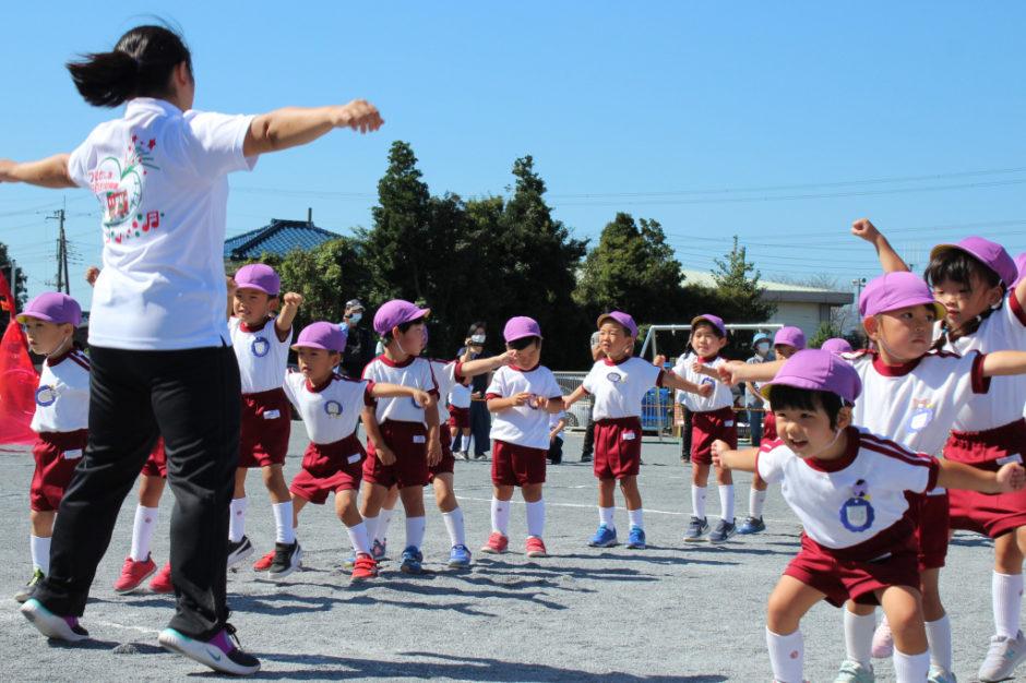 10月2日 運動会 年少ぐみ とても元気にうんどうかいのうたと体操を披露してくれました(*^▽^*)
