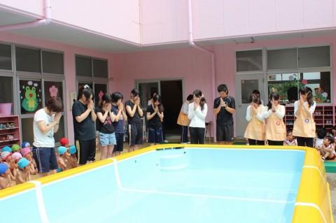 プール開き 先生方も無事に夏を過ごせるようにお祈りします!!