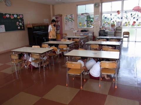 防火講習会(1) 地震です!!地震です!!園児のみなさんは机の下に避難してください!!